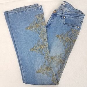 Cache Embroidered Flare Jeans Size 8 x 33 inseam